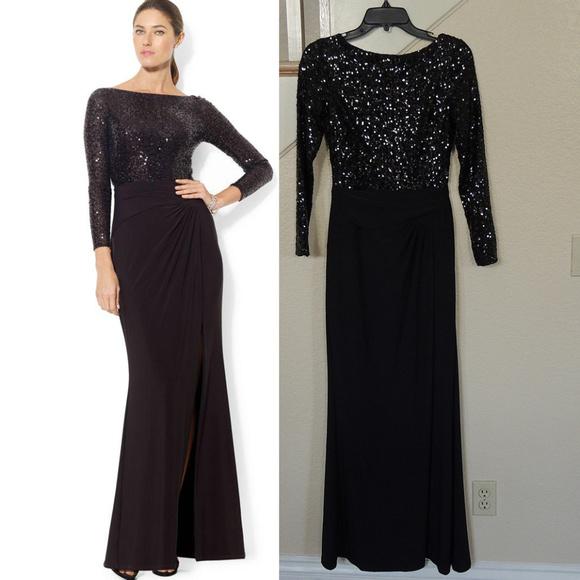 Lauren Ralph Lauren Dresses | Sale Ralph Lauren Black Sequin Formal ...